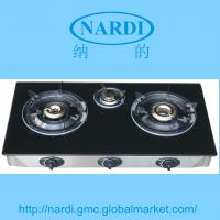 China gas stove with toughened glass top ,stainless steel frame and drip tray, brass burner Enamel pan support on sale