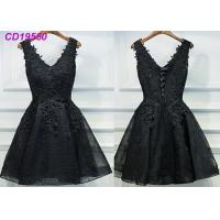 China Homecoming Black Lace Cocktail Dress / Beach Sleeveless Short Cocktail Dresses on sale