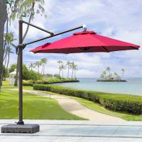 China Beer Starbucks Outdoor Garden Patio Umbrella With Red Crank Handle Led Light on sale