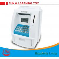 China ATM piggy bank electronic toy Blue/White Color USD currency recoginition ABS plastic with VIP bank card on sale
