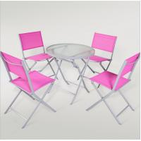 outdoor iron sling textilene mesh fabric folding armless chair and table garden furniture