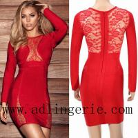 Wholesale RED LACE LONGSLEEVE BANDAGE DRESS D4075 from china suppliers
