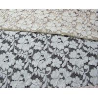 Grey Elastic Cord Lace Material / Floral Viscose Nylon Cotton Fabric CY-DK0011