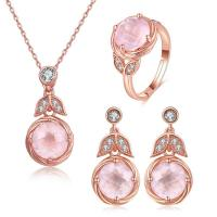 China Pink Oval Stone 925 Silver Gemstone Jewelry Chain Necklace Ring Earrings Dangle on sale
