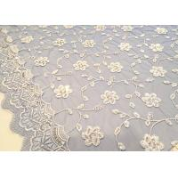 Embroidered White And Blue Sequin Floral Lace Fabric With Scalloped Edging