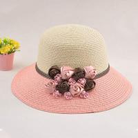 China Middle Ribbon Women's Hats With UV Protection , Pink Flowers Straw Summer Hats For Women on sale