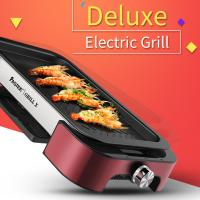 Electric BBQ grill with Non-stick Surface Korean Griddle Indoor and Outdoor  FST-53B red with  aluminium alloy