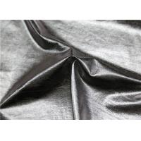 Wholesale Dry Process Polyester Faux Leather , Silver Fake Leather Fabric For Ladies