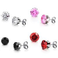 China Wholesale Stainless Steel Round Clear Cubic Zirconia Stud Earrings Women on sale
