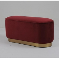 Wholesale Modern Velvet Fabric Pouf Small Stool Ottoman Golden Trim Living Room Furniture Gold Metal OEM Steel from china suppliers