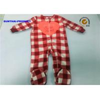 Wholesale Heart Applique Plaid AOP Newborn Boy Pram Suit Crew Neck All Over Print Coverall from china suppliers