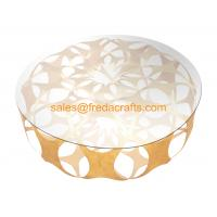 China Elegant Design Coffee Table in Iron sheet Base Tempered Glass Top Table Gold Leaf for home on sale