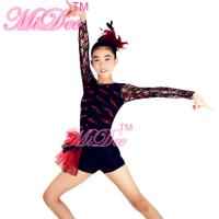 Adult Jazz Costumes Sequined Lace Long Sleeve Leotard Shorts With Side Suttles