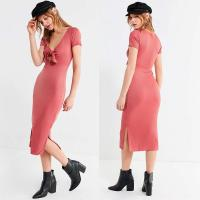 China Women Summer Pink Dress Elegant Sexy Side Slit Bodycon Dress With Bow on sale