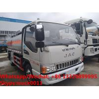 Wholesale high quality JAC 5500L oil tanker fuel transport truck for sale, Bottom price JAC diesel tank delivery truck from china suppliers