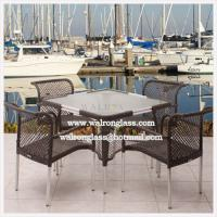 Quality Outdoor Dining Table Top with Acid Etched Tempered Glass for sale