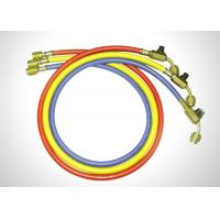 China Multi Color Manifold Gauge Set R410a Refrigerant Hoses With Ball Valves on sale