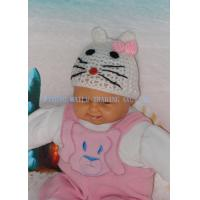 Wholesale Cute Hollow Out White Cat Easy Crochet Hat With Beautiful Pink Bowknot from china suppliers