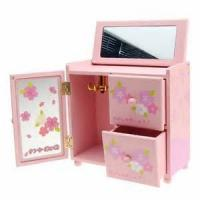 Wholesale OEM / ODM Wooden Storage Boxes Cases With Mirror Inside For Cosmetics / Perfume , Gold / Silver Hot Stamping from china suppliers