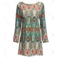 Quality Ethnic Style Round Collar Tribal Print Tassel Women polyester Dress for sale