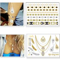 Eco friendly silver gold foil temporary tattoos metallic for Gold foil tattoo
