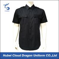 Custom Dark Navy Security Guard Shirts / Pure Polyester Short Sleeve Work Shirts