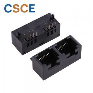 China 5324 Series Black Color 2 Port RJ45 , Ethernet RJ45 8p8c Connector Without Transformer on sale