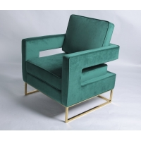 Wholesale Modern Gold Stainless Steel Legs Green Velvet Occasional Chair from china suppliers