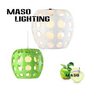 China Indoor Green Apple Resin Shape Pendant Lamp For Bar Dining Room Decoration LED Light on sale