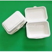 Quality Disposable Biodegradable Sugarcane Pulp Paper Lunch Box, sugarcane clamshell 600ml for sale