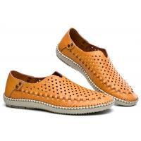 Wholesale Breathable Punched Holes Mens Casual Summer Shoes , Khaki Leather Business Shoes from china suppliers