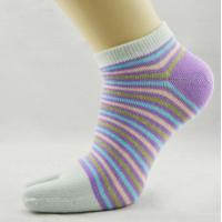 Wholesale Fancy Striped Five Toe Socks , Knitted Five Finger Toe Socks from china suppliers