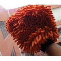 Wholesale yellow  blue  colorful  16 * 21cm  hair  height  3cm  microfiber  big chenille  car  cleaning glove from china suppliers