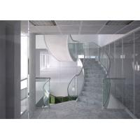 Wholesale Marble steps stainless steel curved staircase indoor design from china suppliers