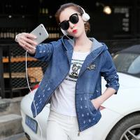 Buy cheap Damaged Wash Ripped Womens Jean Jackets With Hoodie Wear Comfortable from Wholesalers