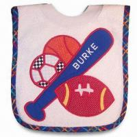 Wholesale Baby Bib, Made of Terry and PEVA, Available in Various Designs from china suppliers