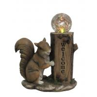 China Classical Squirrel Welcome Garden Solar Light , Animal Solar Lights Outdoor With Glass Ball on sale