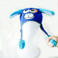 Knitting acrylic outdoor warm cute animal hat with hand's sensitive squeezer ballon floppy hats with ears for kids