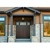 China Durable Interior Solid Wood Doors Customized Size / Color With Tempered Glass on sale