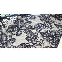 Wholesale Black Heavy Beaded Mesh Fabric By The Yard , Embroidered Net Fabric With Beads from china suppliers