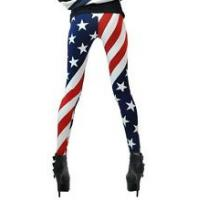 Wholesale OEM Comfortable Striped Pantyhose , Footless American Flag Leggings from china suppliers