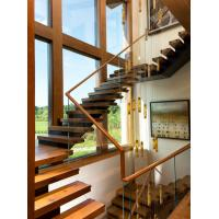 Wholesale Wooden staircase straight stair with laminated glass railing modern design from china suppliers