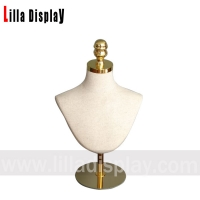 Wholesale lilladisplay adjustable gold round base natural linen cover display female mannequin bust for jewelry display  DBG01 from china suppliers