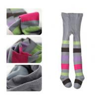 Wholesale OEM Cute Kids Striped Pantyhose , Patterned Grey Cotton Tights from china suppliers