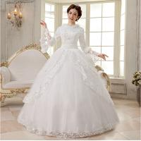 China Luxurious Long sleeved White Cotton Wedding Dresses modern layered wedding gowns on sale