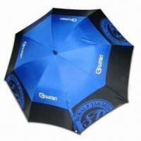 Wholesale Double-layer Windproof Golf Umbrella with 14mm Black Fiberglass Shaft, Auto Open from china suppliers