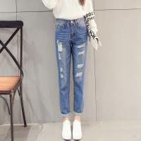 Buy cheap Vintage Classic Ladies Straight Leg Jeans , White / Light Blue Knee Hole Jeans from Wholesalers