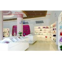 China Candy gift retail store display fixture by wooden shelves in stream line and white painting sale counters on sale