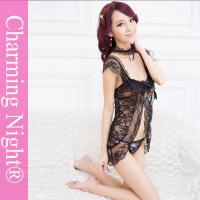 Nylon / Polyester Babydoll Sexy Lingerie Nightwear sleeping dresses With Lace Necklet