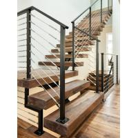 Wholesale Carbon steel center stringer L-shape solid wood staircase with glass railing from china suppliers